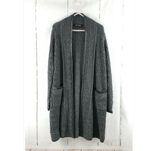 St. John Wool Cable Leather Trimmed Cardigan